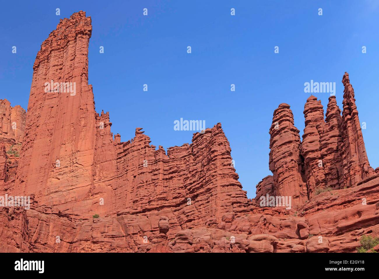United States Utah Colorado Plateau Fisher Towers rock formations near Moab - Stock Image