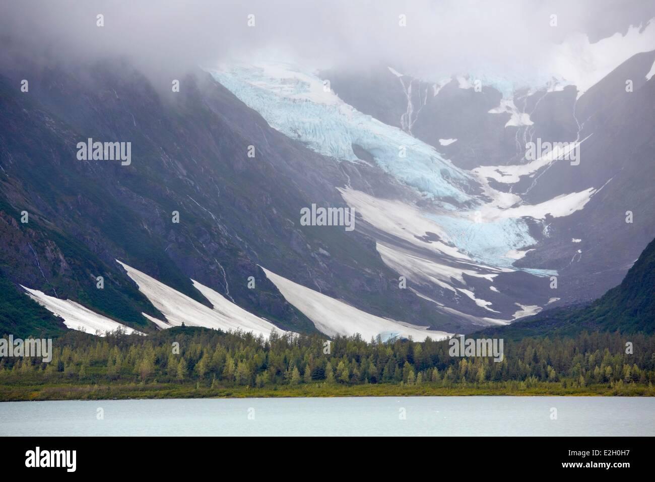 United States Alaska Portage lake and glacier - Stock Image