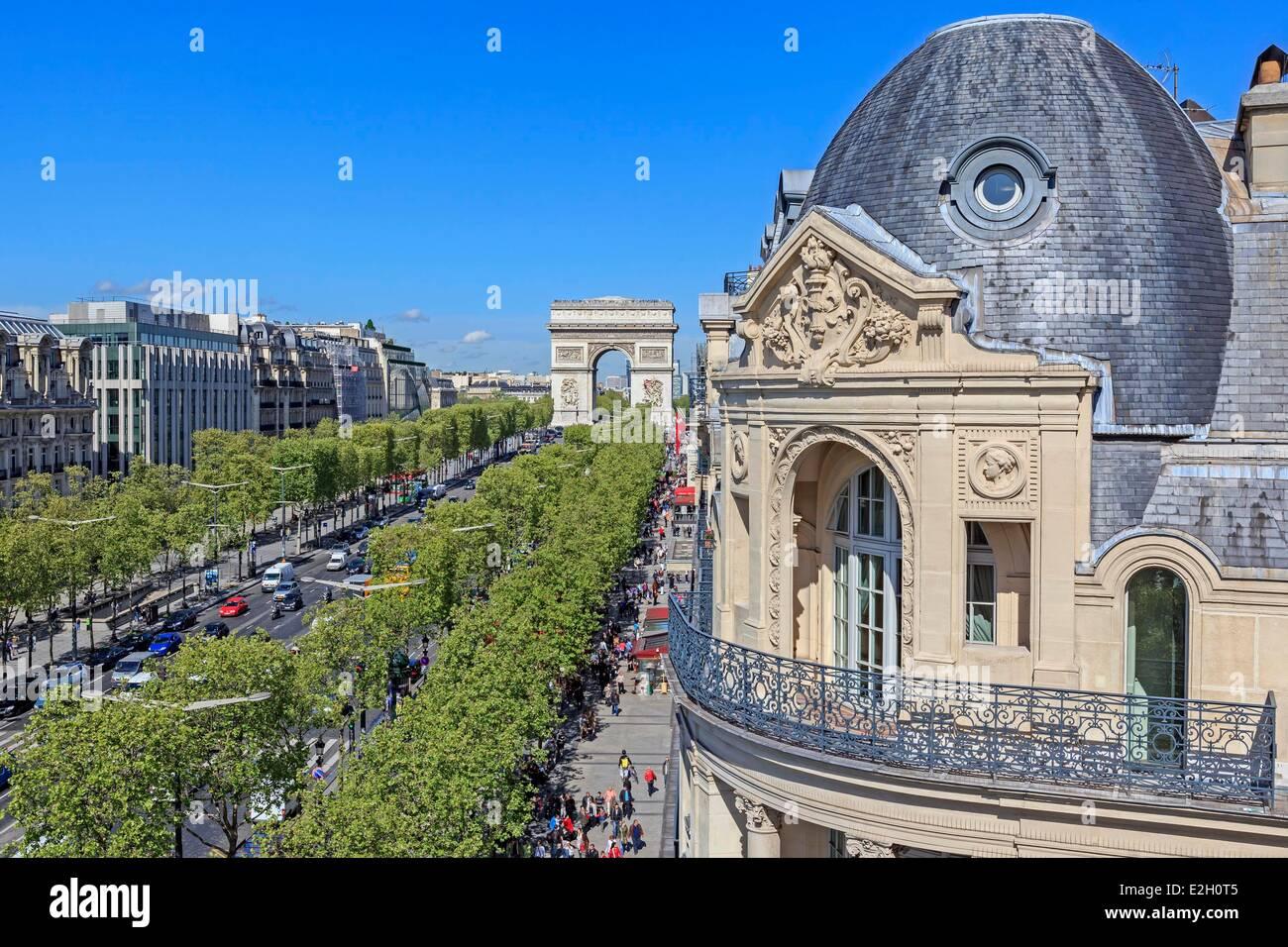France Paris Arc de Triomphe and Champs Elysees avenue - Stock Image