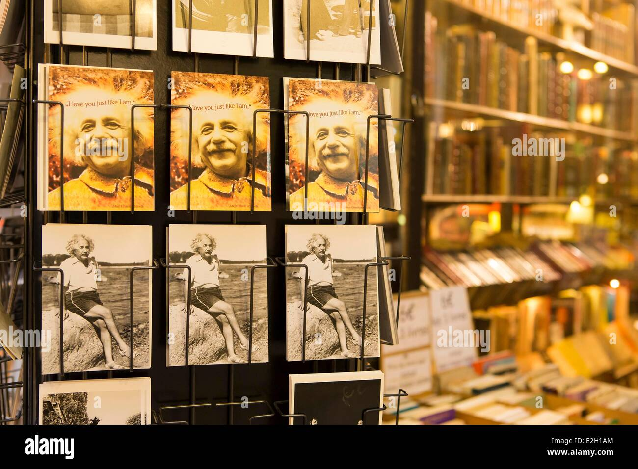 France Paris postcards for sale at La Librairie Ancienne de Francois Jousseaume ( Francois Jousseaume old bookstore) Stock Photo