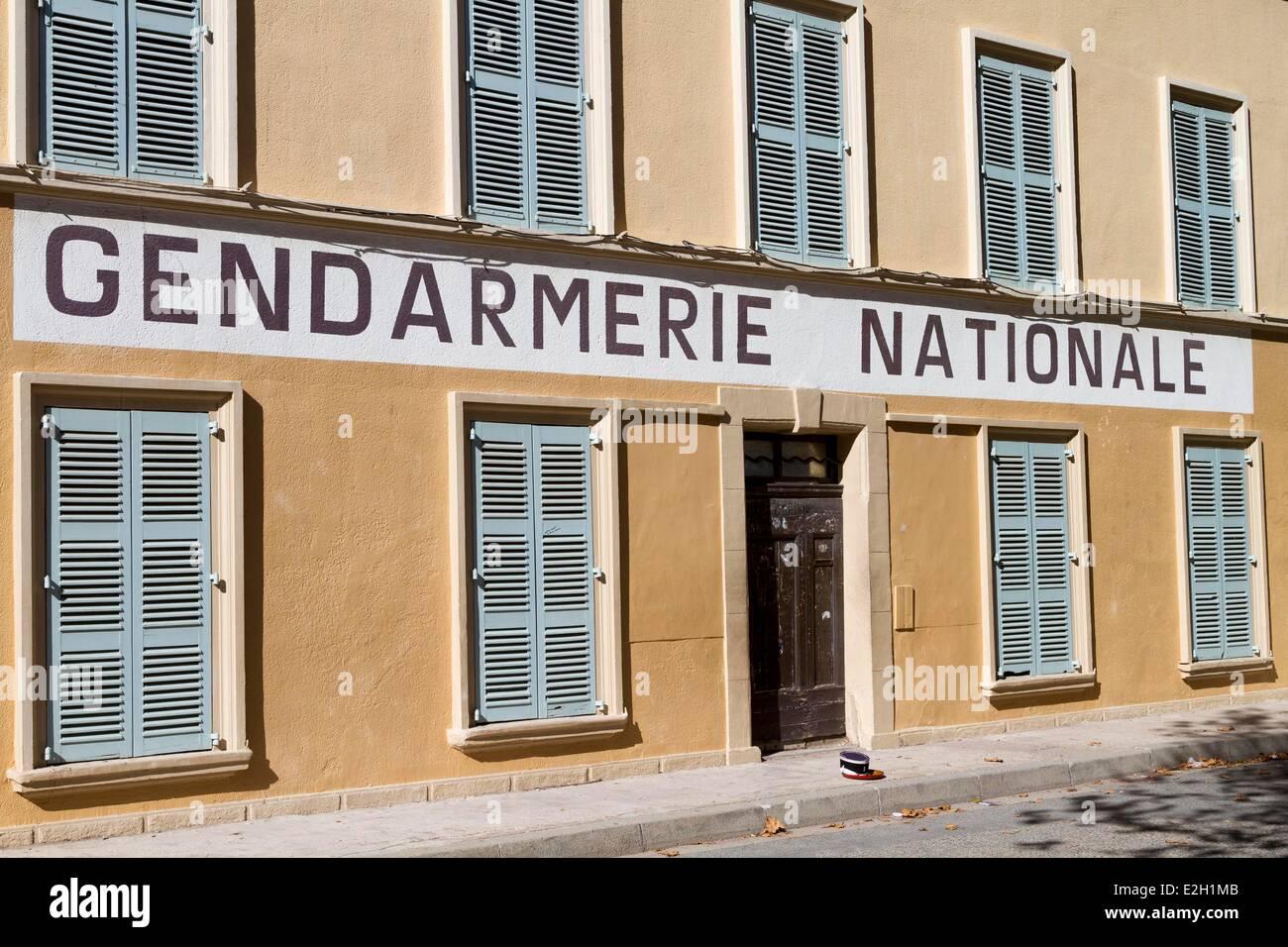 France Var Saint Tropez ancient Gendarmerie become famous thanks to movie gendarme of Saint Tropez - Stock Image