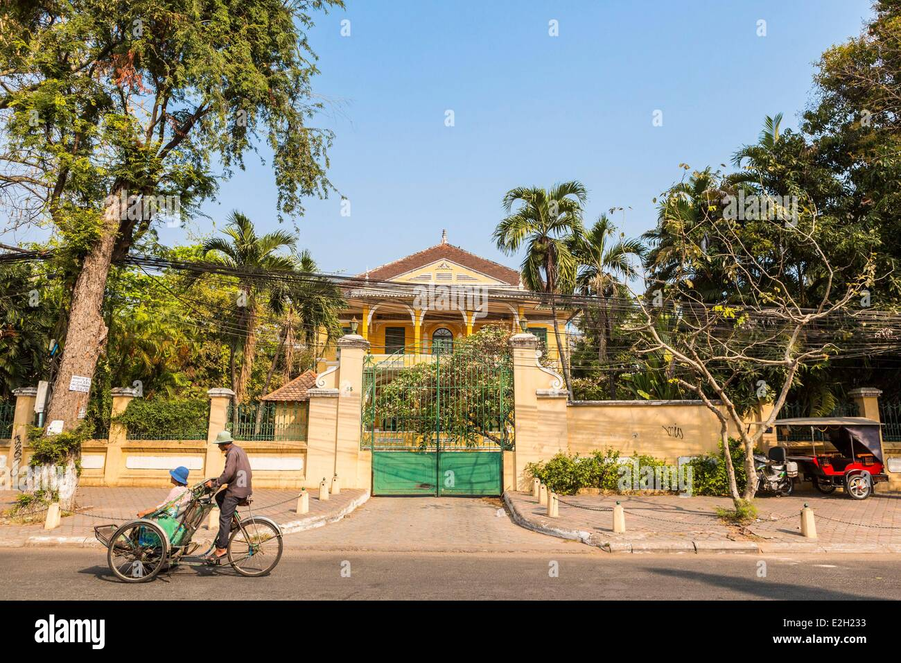Cambodia Phnom Penh French colonial house in street 178 Stock Photo