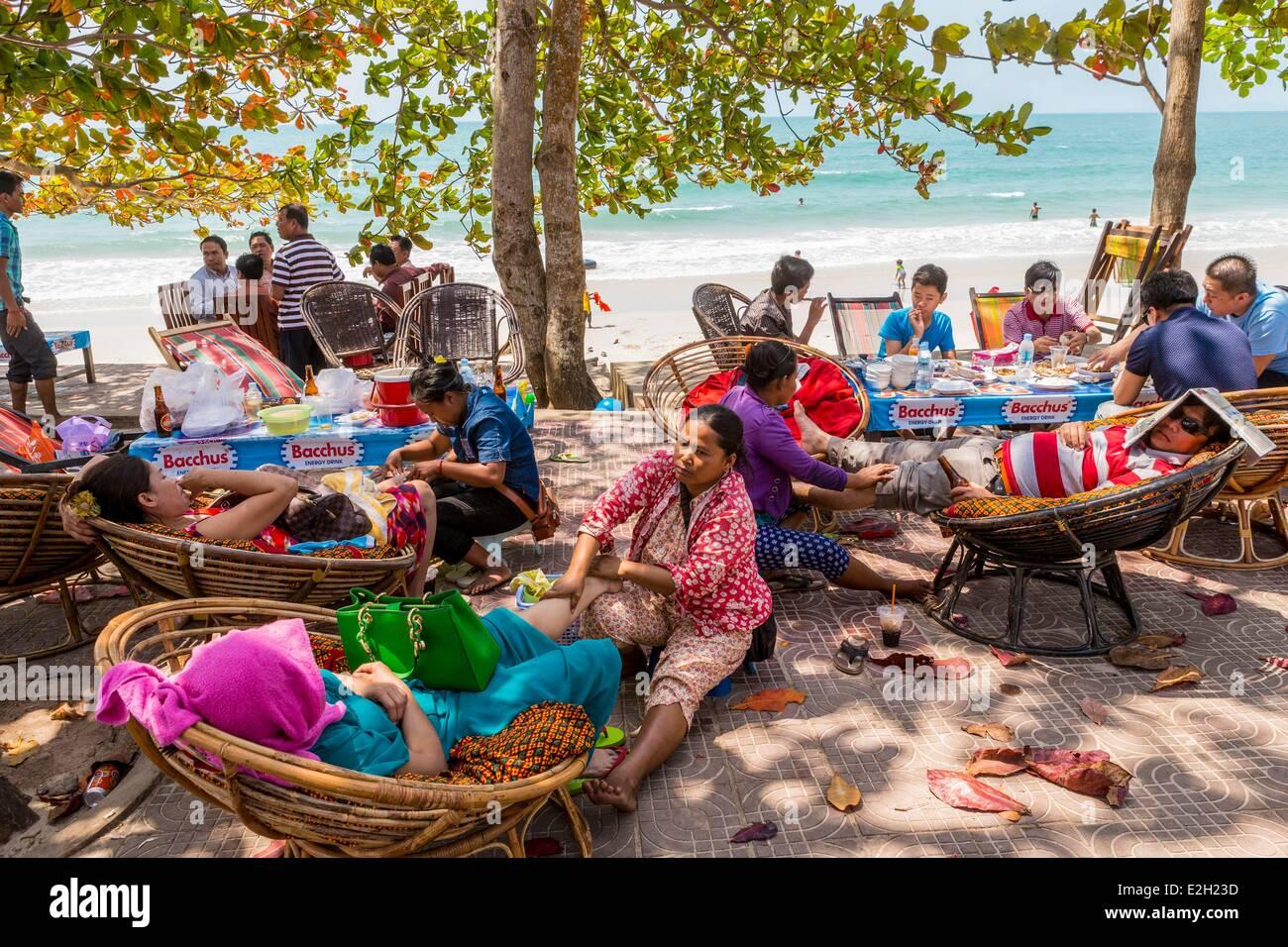 Cambodia South coast Kompong Song province Sihanoukville Independence Beach - Stock Image