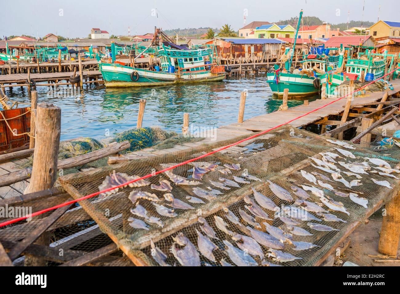 Cambodia South coast Kompong Song province Sihanoukville fishing port - Stock Image