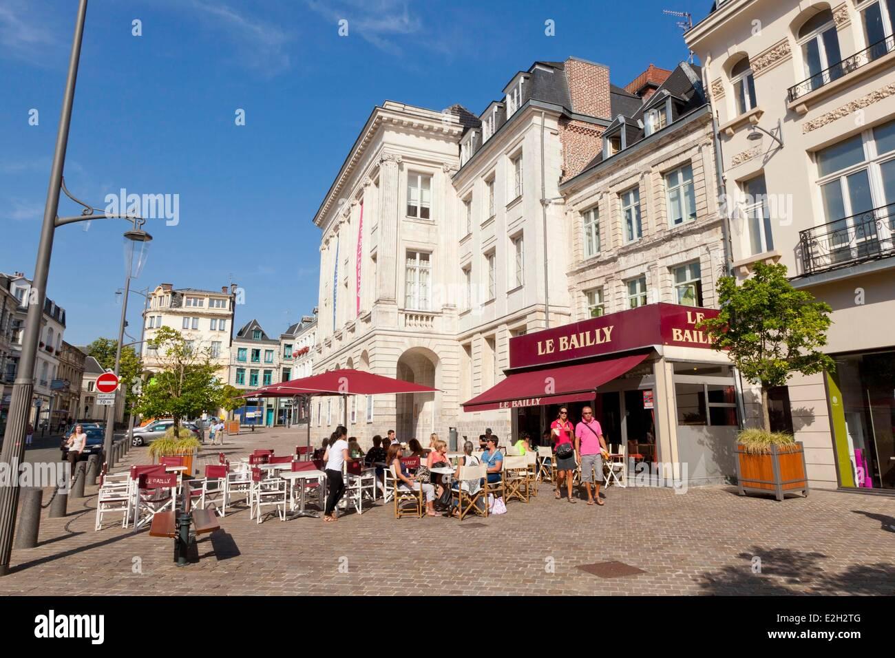 France Pas de Calais Arras Theatre of Arras and cafe terraces - Stock Image