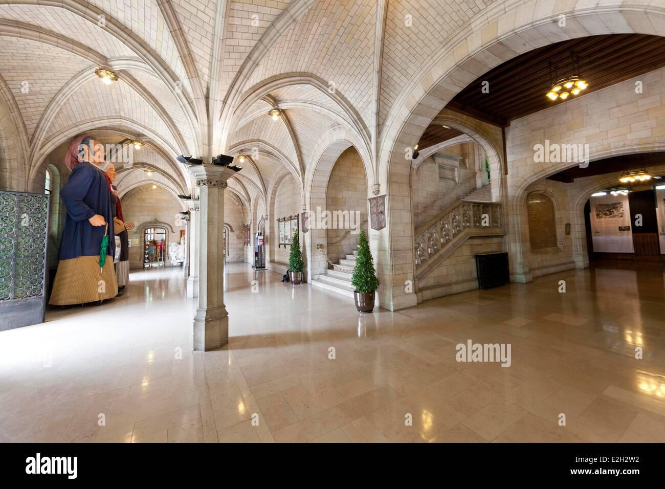 France Pas de Calais Arras lobby of City Hall - Stock Image