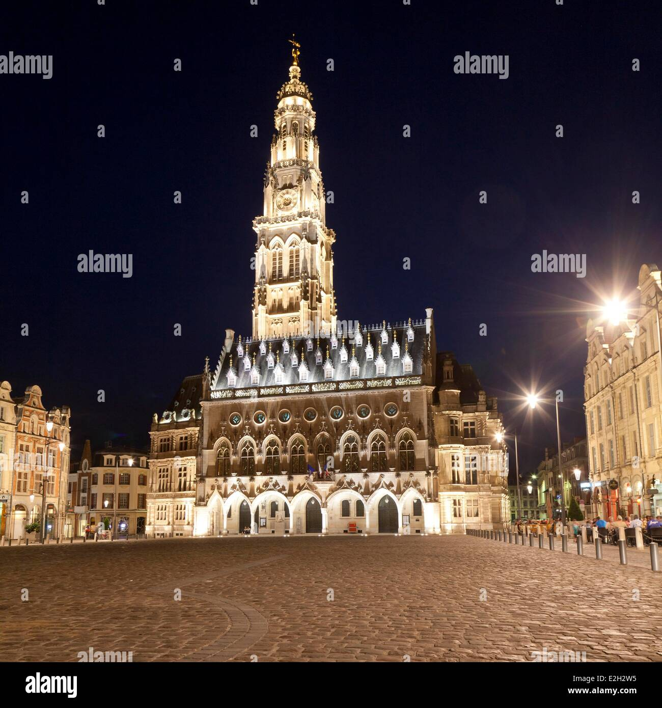 France Pas de Calais Arras Place des Heros Town Hall at night topped with its 77 meters belfry listed as World Heritage Stock Photo