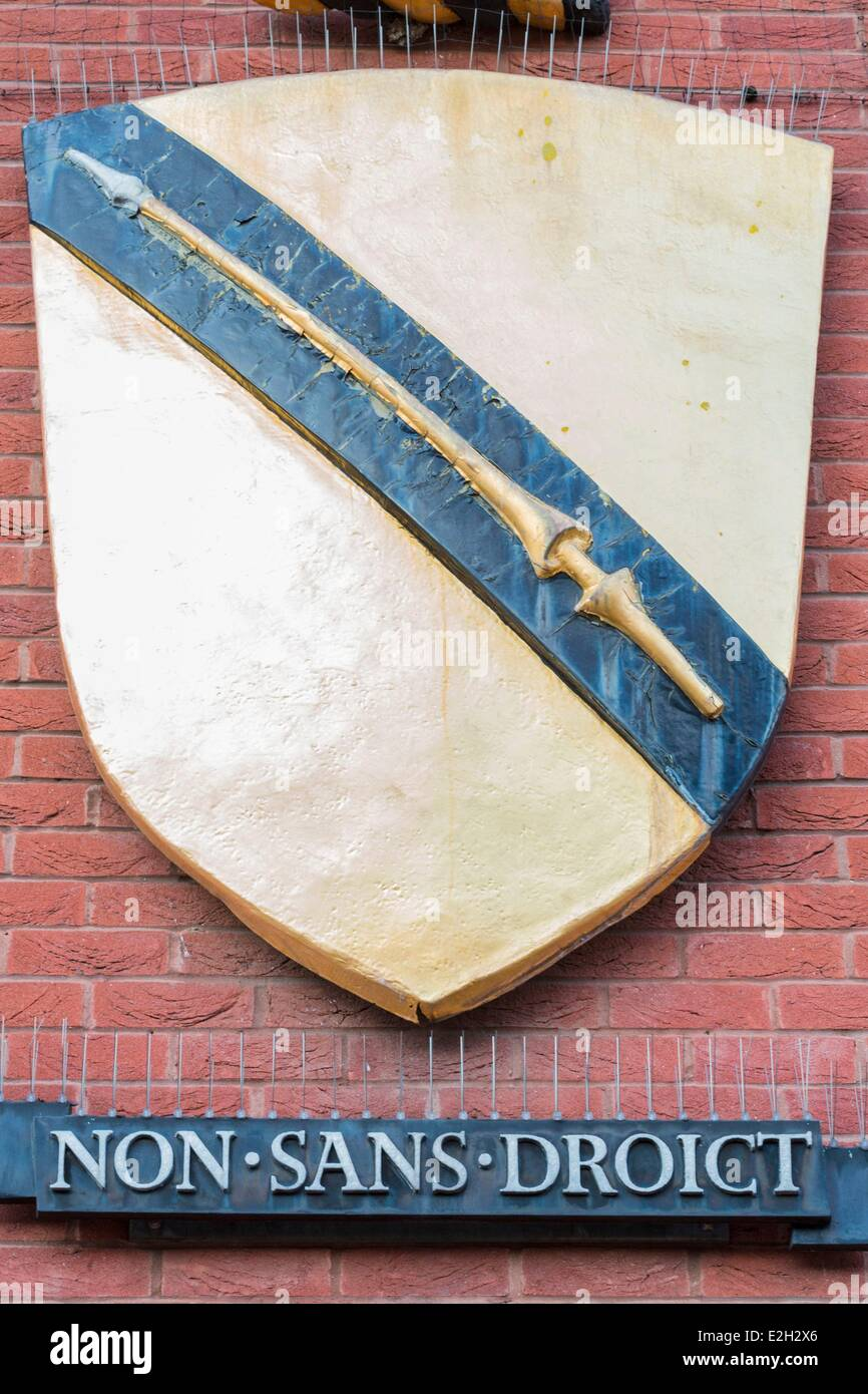 United Kingdom Warwickshire Stratford-upon-Avon William Shakespeare arms that obtained for his family in 1596 - Stock Image