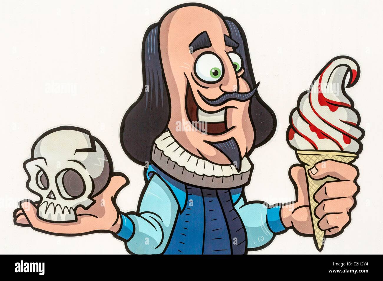 United Kingdom Warwickshire Stratford-upon-Avon drawing playwright William Shakespeare about a storefront glacier - Stock Image