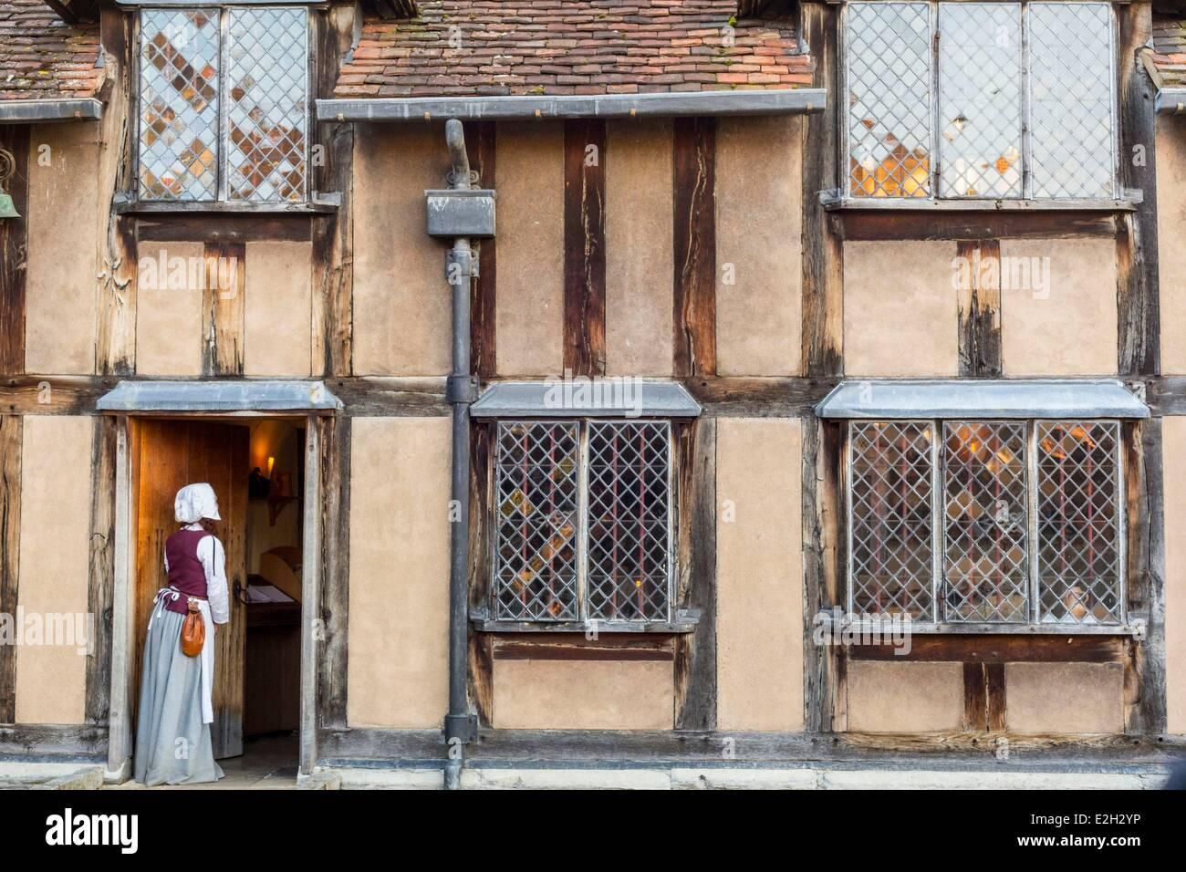 United Kingdom Warwickshire Stratford-upon-Avon birthplace of William Shakespeare where dramatist spent first five - Stock Image