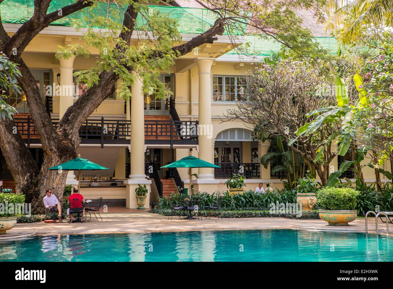 Cambodia Phnom Penh Raffles Hotel Le Royal luxurious hotel in colonial era - Stock Image