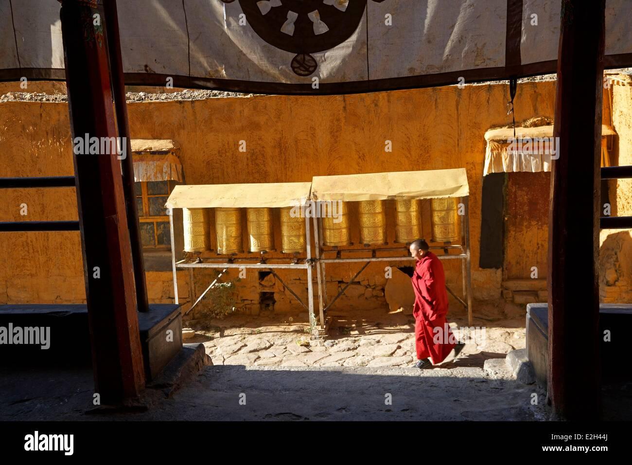 China Tibet Lhassa monk at Sera monastery - Stock Image