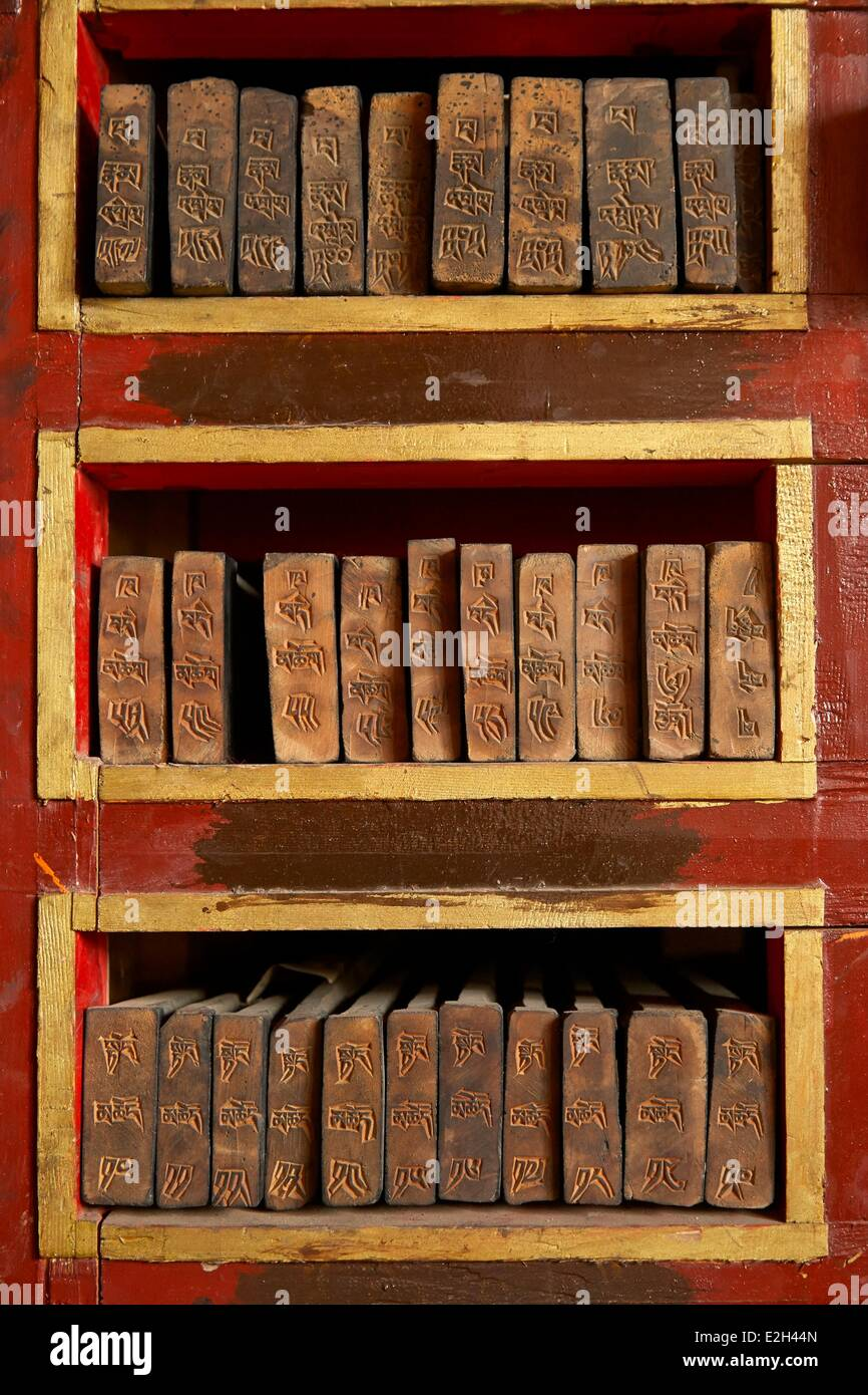 China Tibet Lhassa wood printing tablet for Buddhism book in Sera monastery - Stock Image