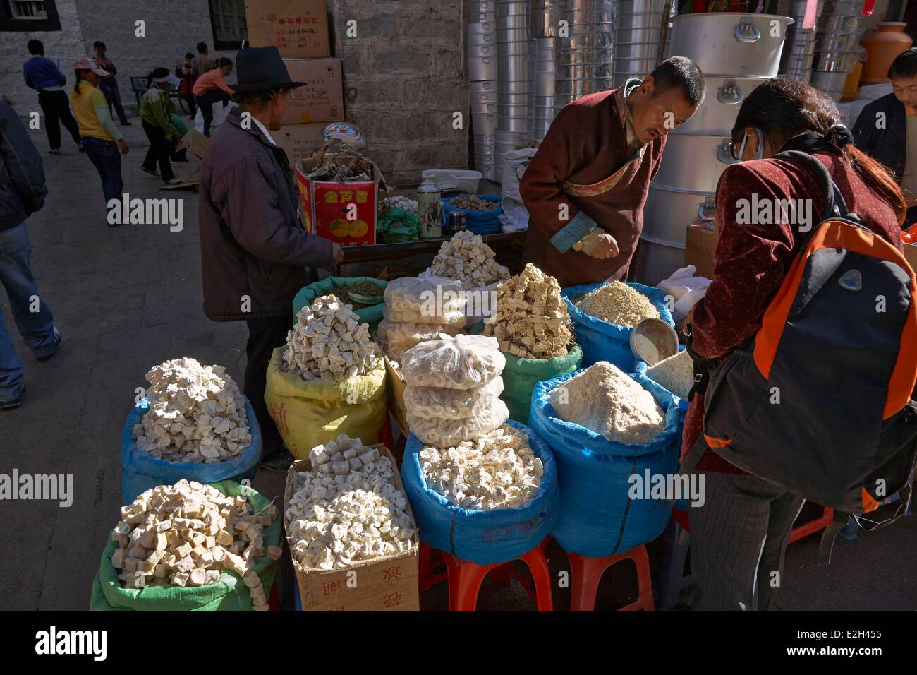 China Tibet Lhassa food market of Barkor with dried yak cheese - Stock Image