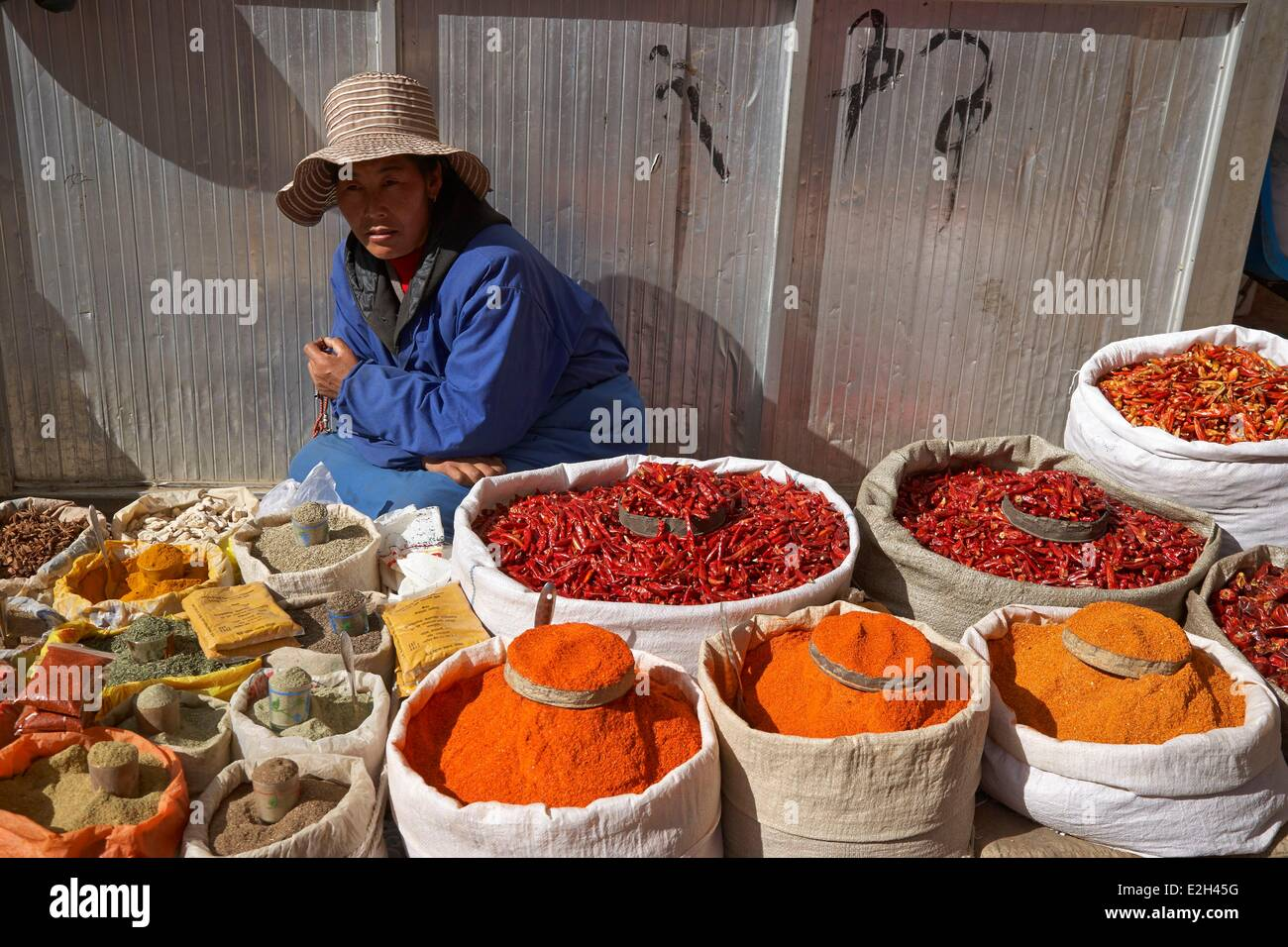 China Tibet Lhassa food market of Barkor with spices - Stock Image