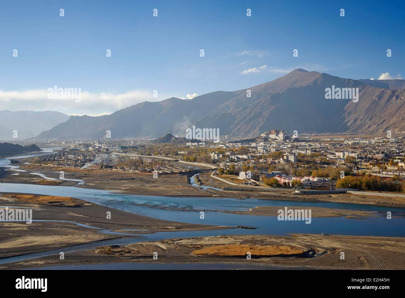 China Tibet Lhassa city of Lhasa and Potala palace - Stock Image