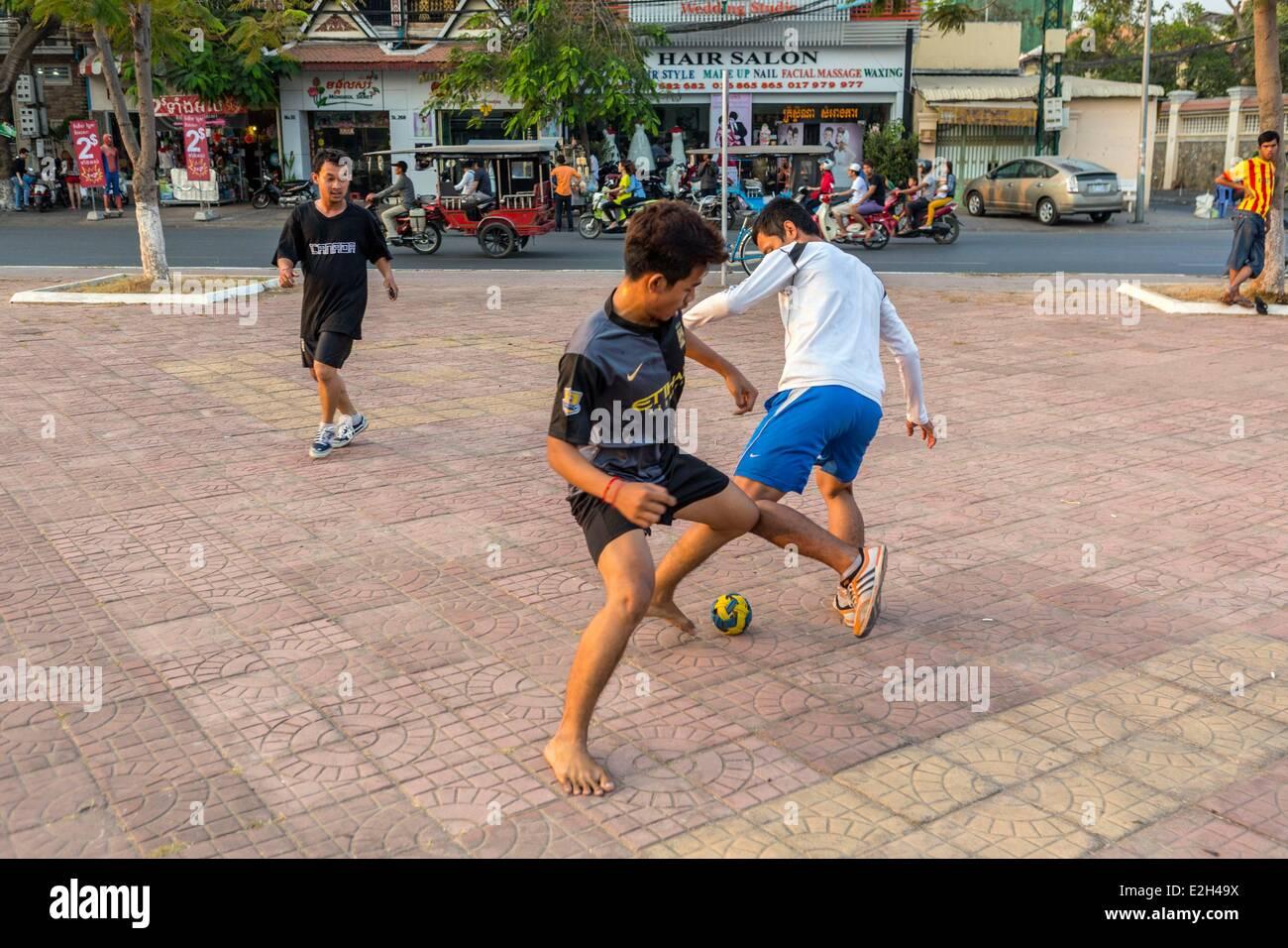 Cambodia Phnom Penh soccer play - Stock Image