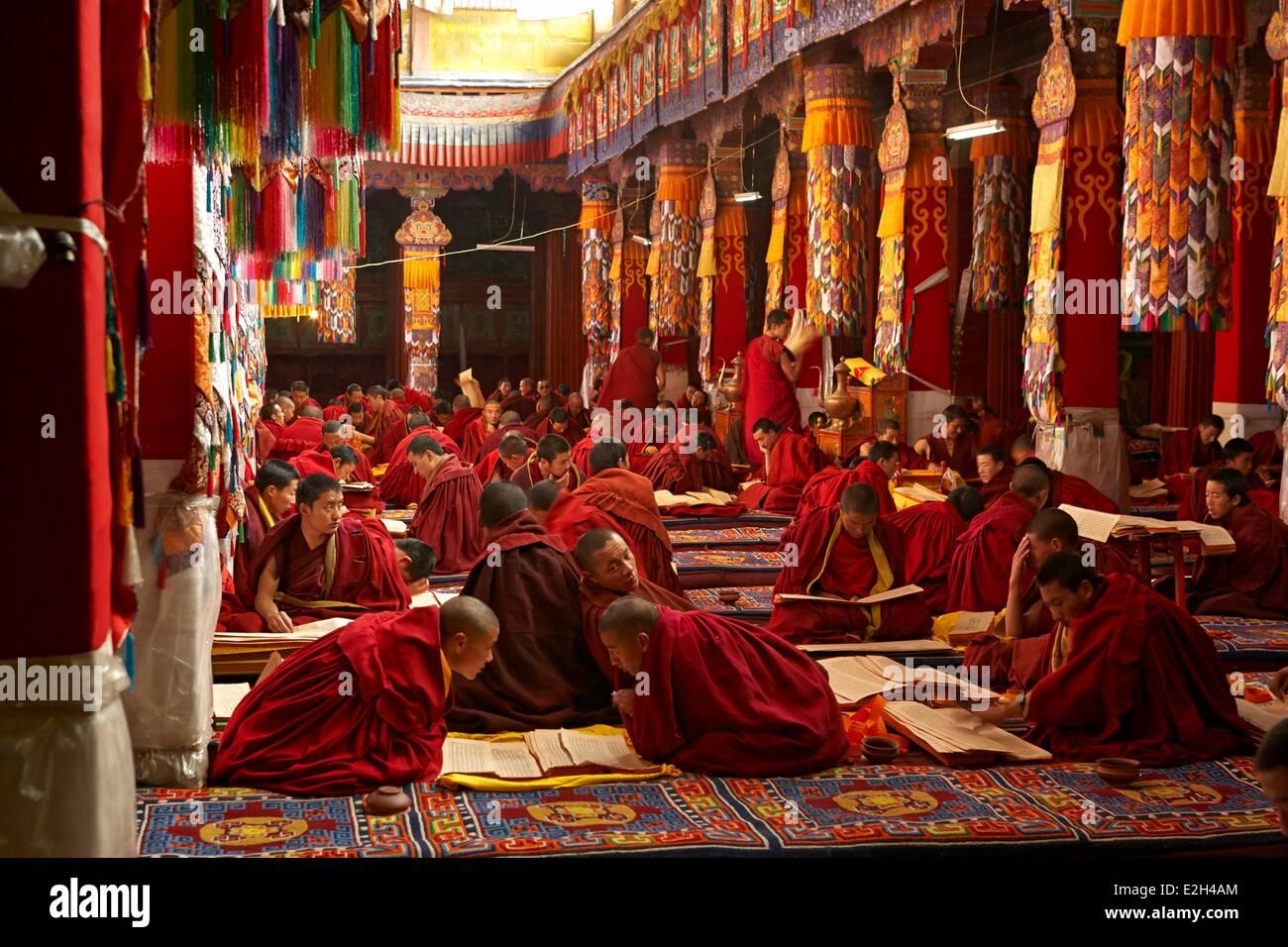 China Tibet Lhassa buddhist religious ceremony at Drepung monastery - Stock Image
