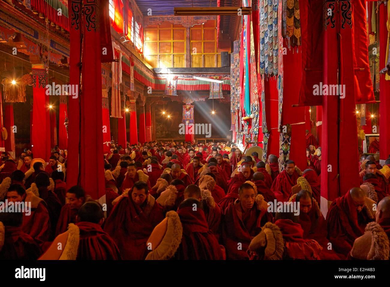 China Tibet Lhassa buddhist religious ceremony at Sera monastery - Stock Image