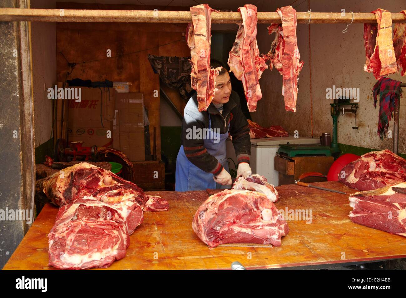 China Tibet Lhassa food market of Barkor with meat - Stock Image