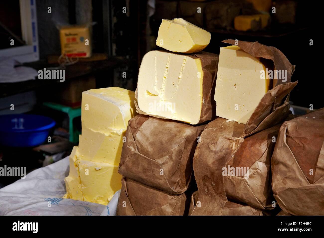China Tibet Lhassa food market of Barkor with butter - Stock Image