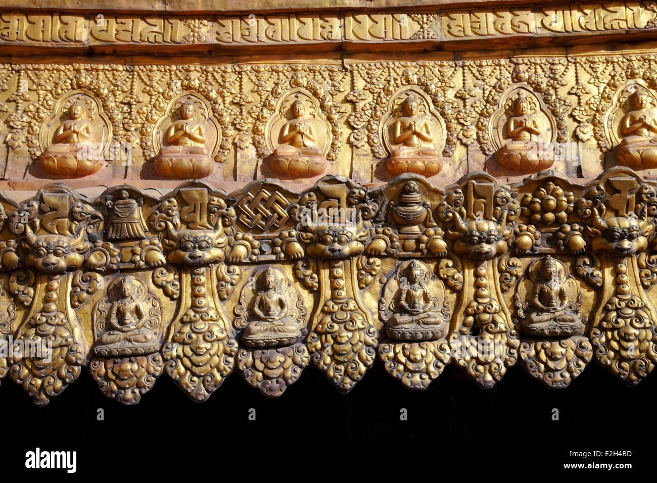 China Tibet Lhassa Buddist symbol on roof of Jokhang monastery this monastery is first Buddhist monastery build - Stock Image