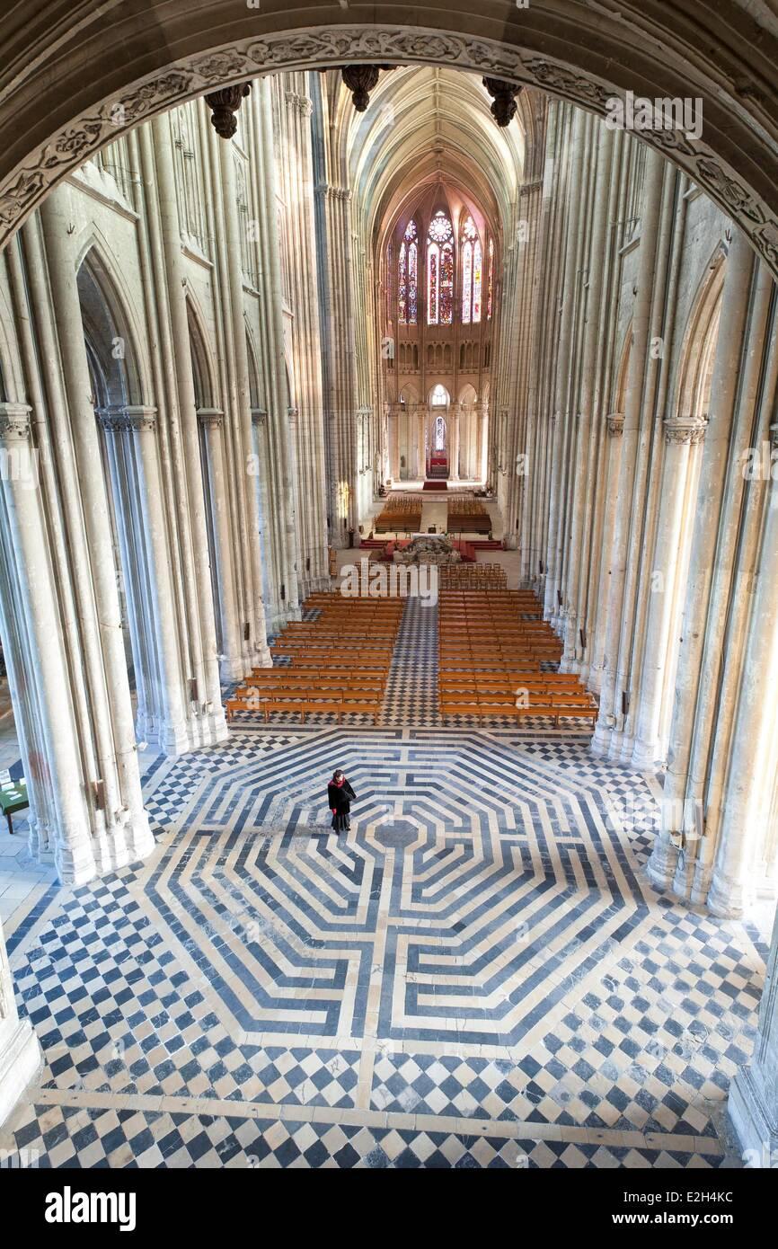 France Aisne Saint Quentin labyrinth of Saint Quentin Basilica - Stock Image