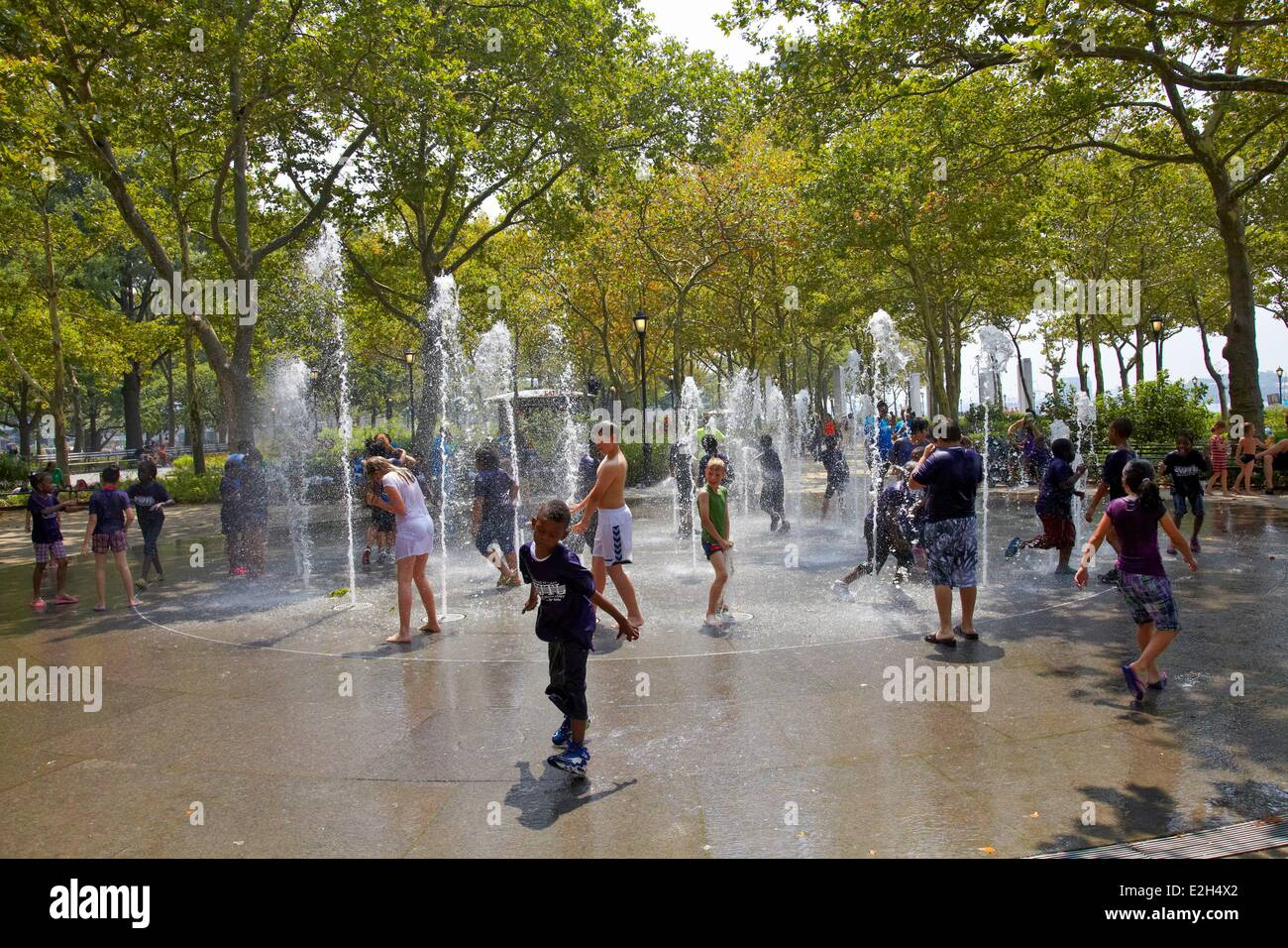 United States New York Summer bath in hot streets of town - Stock Image
