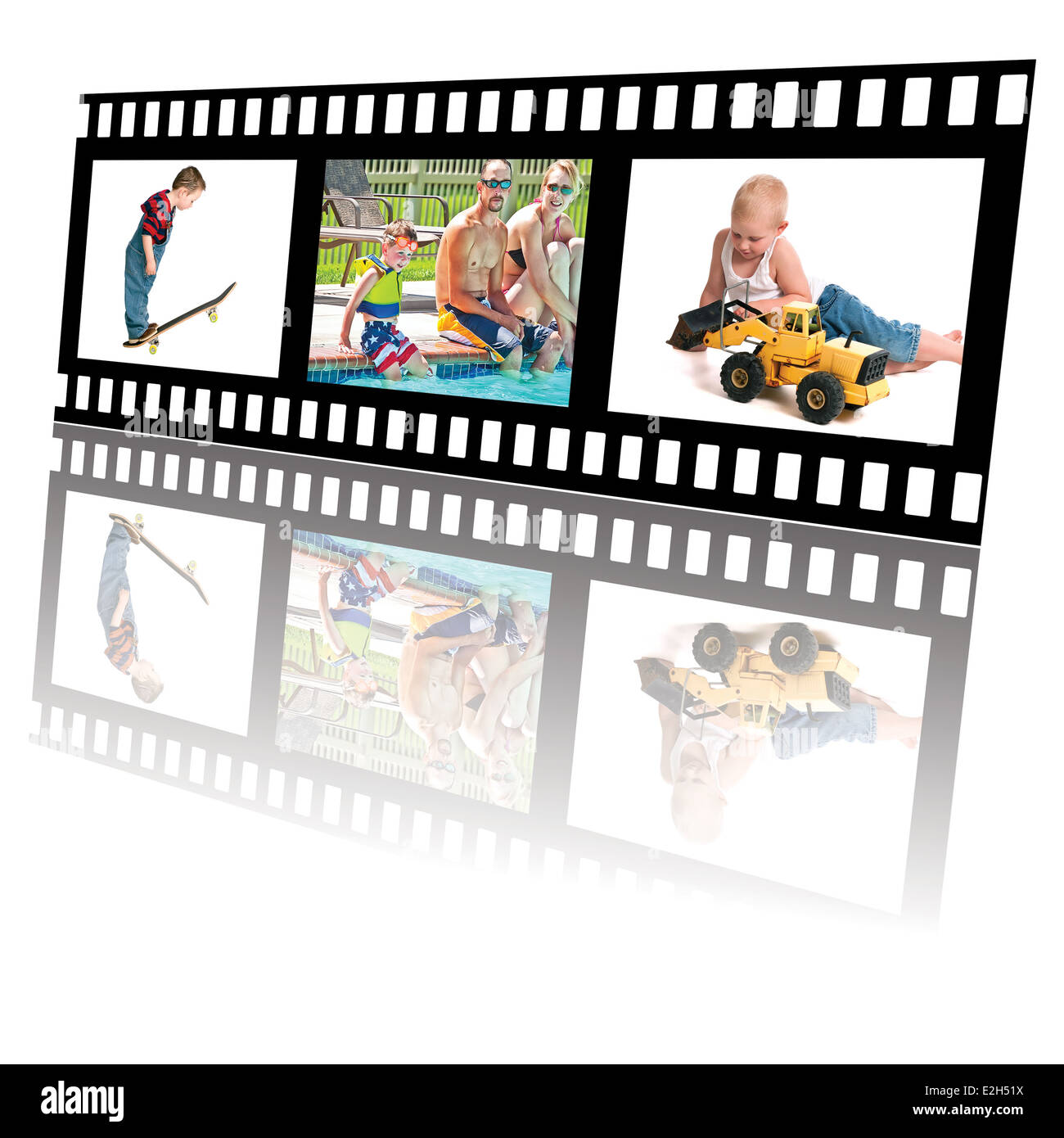 Filmstrip Of Summer Fun Activities For Little Boys And Family Stock