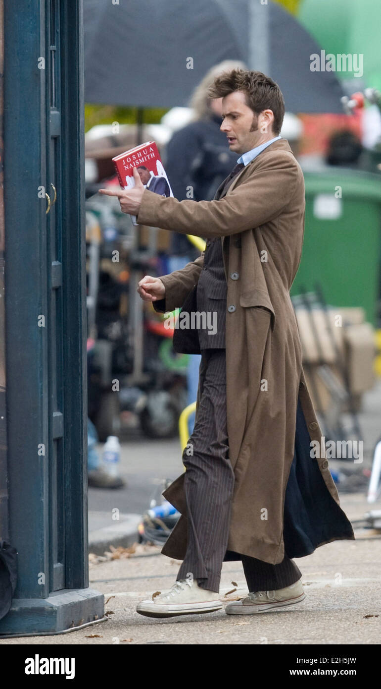 06.04.09 Dr. Who Christmas Special seen filming in Cardiff. David Tennant - Stock Image