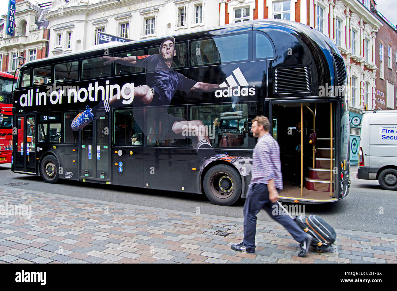 Adidas Advertisement On The New Routemaster Bus In Central London Stock Photo Alamy