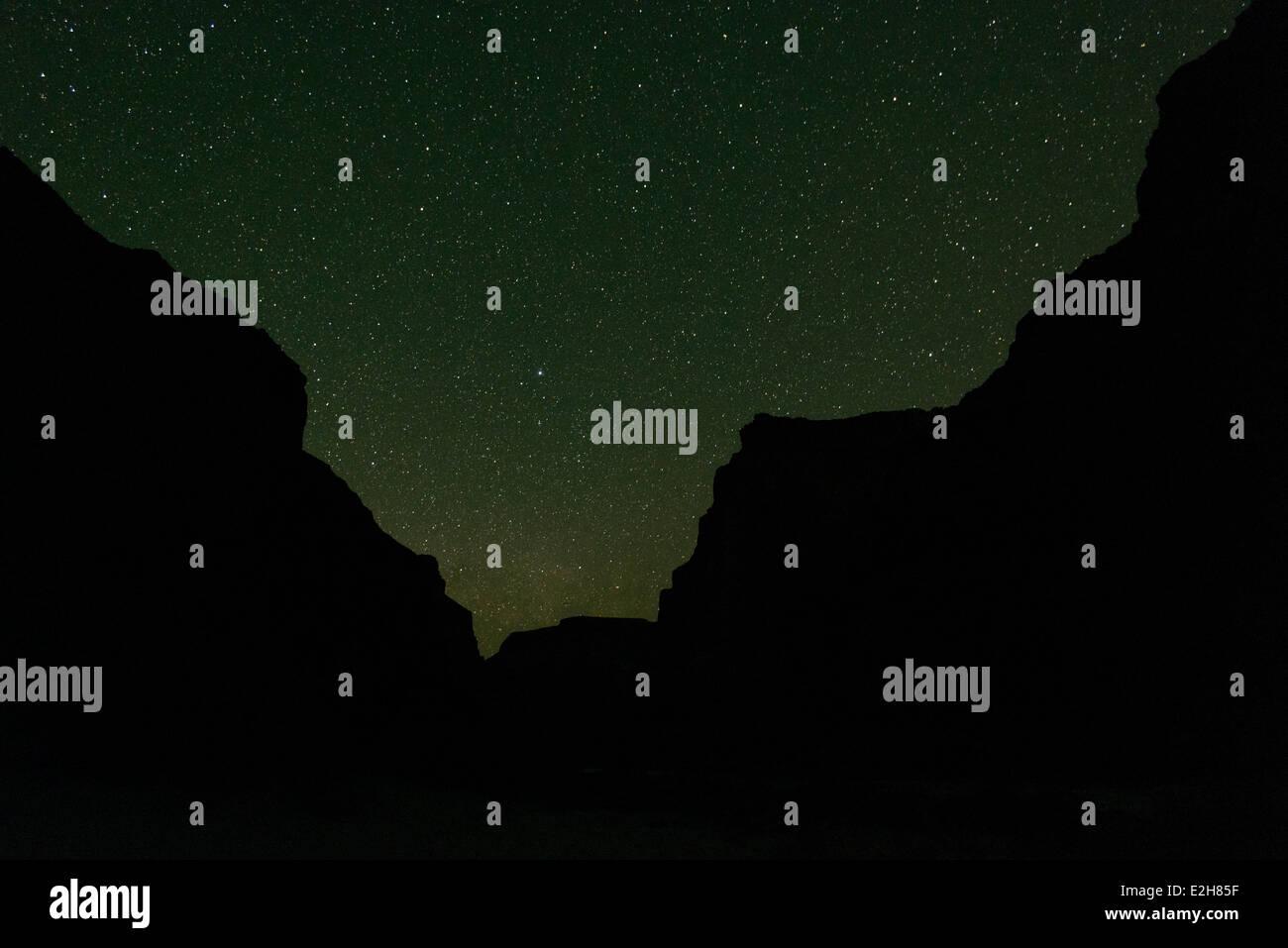Night sky filled with stars, Grand Canyon, Arizona. - Stock Image