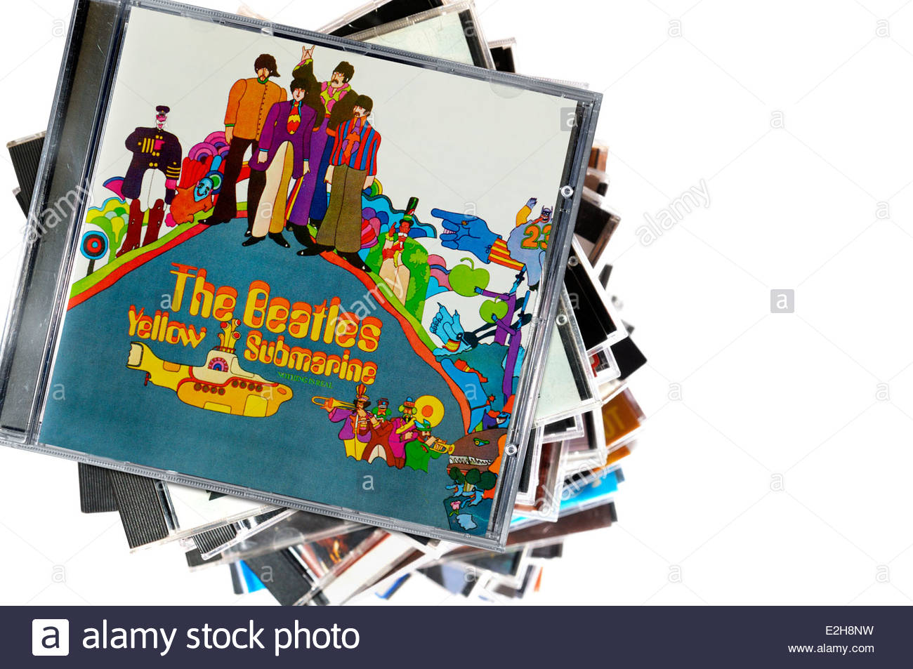 The Beatles 1969 album Yellow Submarine, piled music CD cases, England - Stock Image
