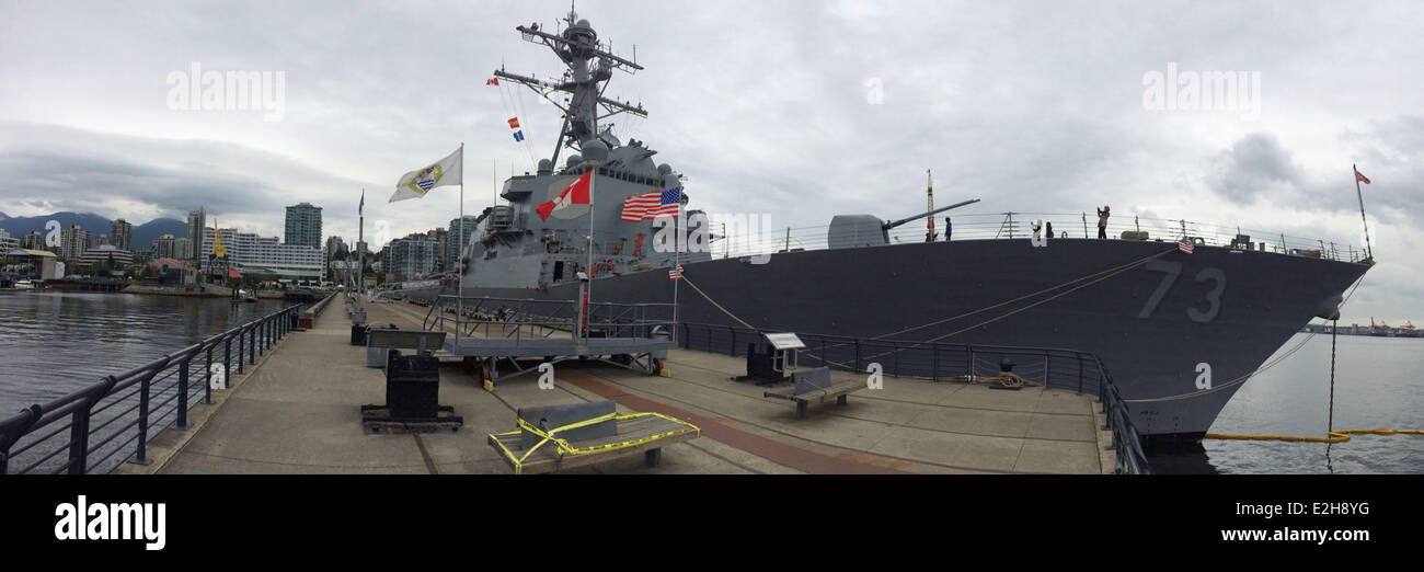 Vancouver, Canada. 19th June, 2014. USS Decatur anchors at a dock in Vancouver, Canada, June 19, 2014. United States Stock Photo