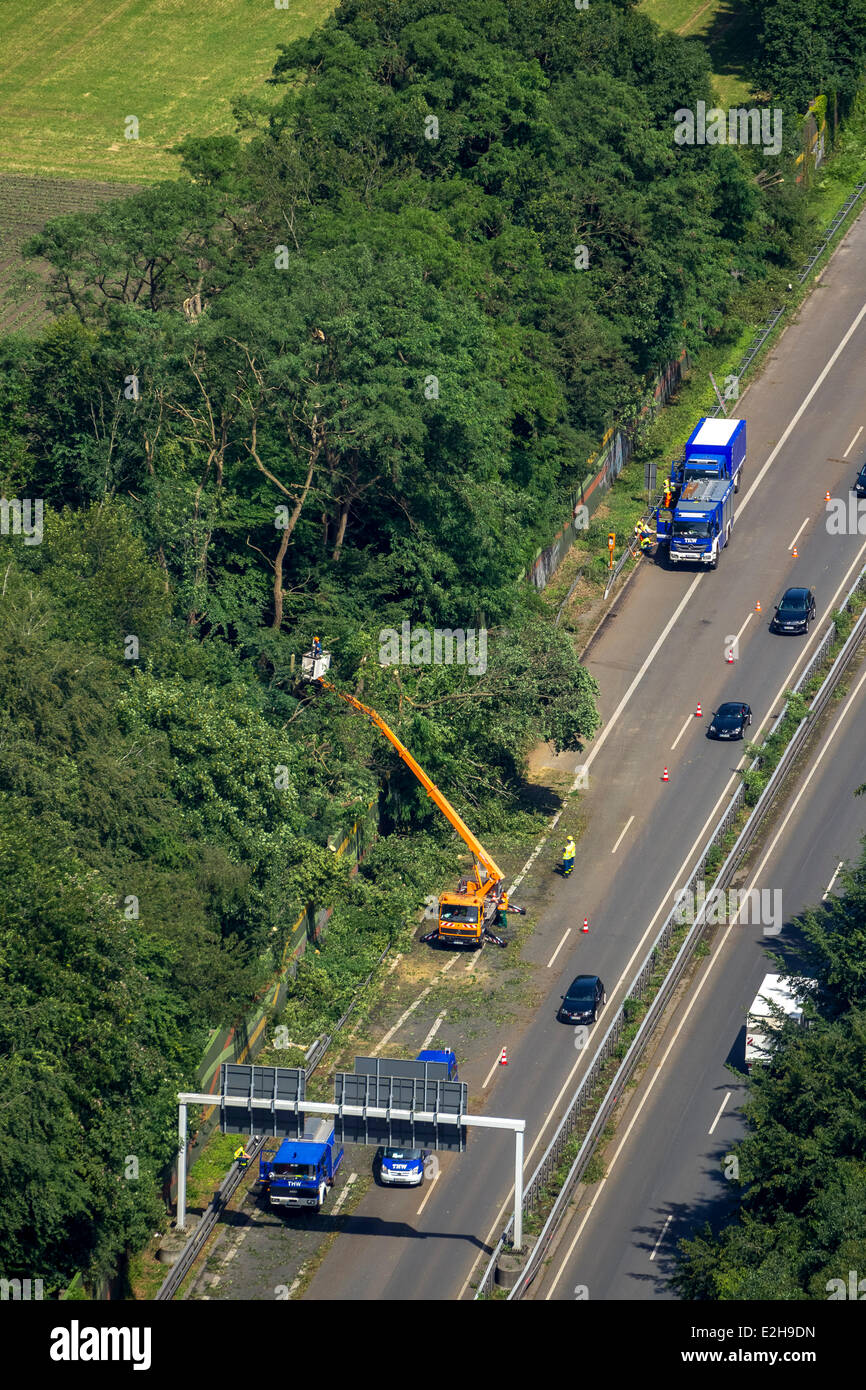 THW, Federal Agency for Technical Relief , at work on the A43 motorway, aerial view, Recklinghausen, Ruhr Area - Stock Image