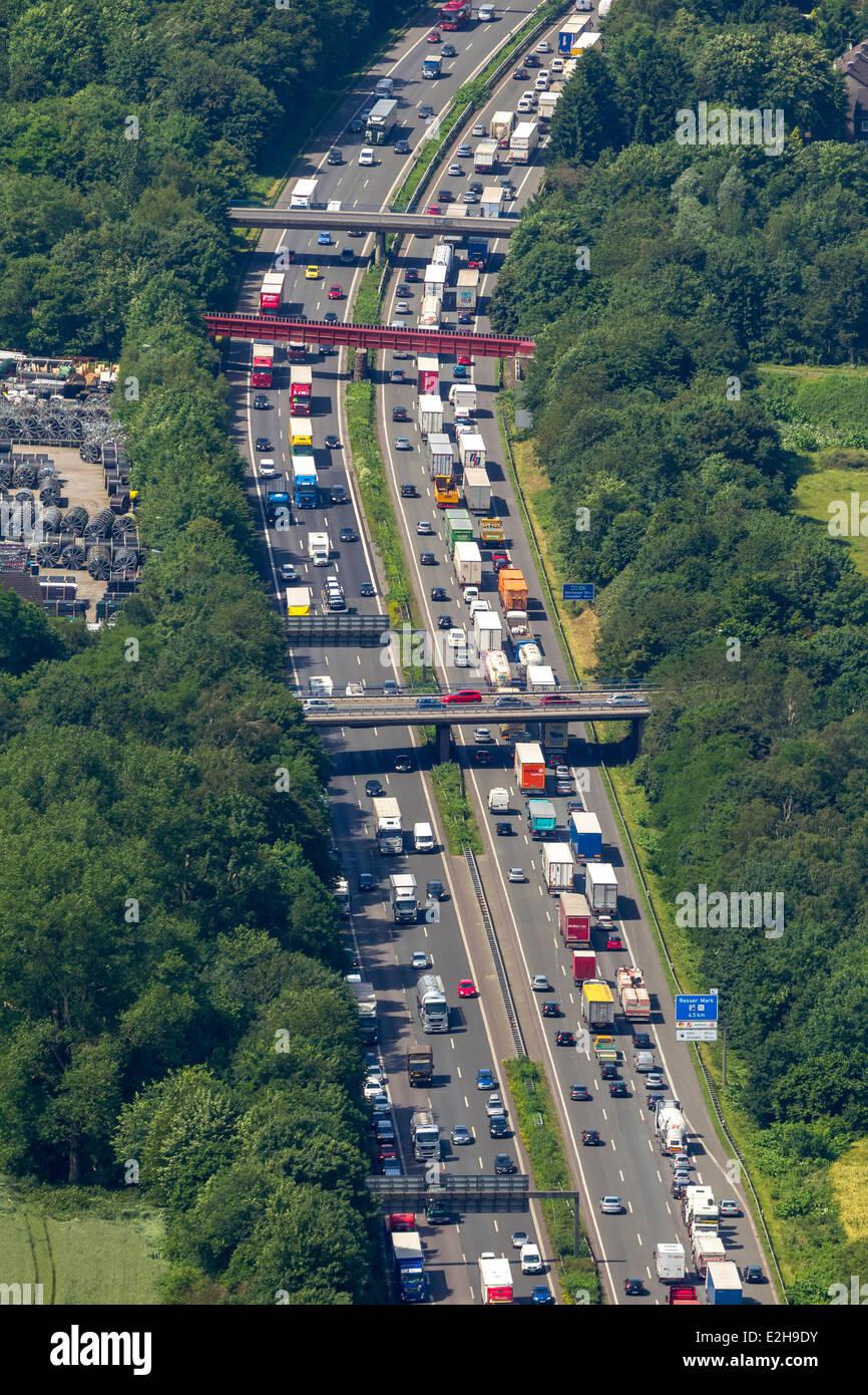 Traffic jam on the A2 motorway, aerial view, Recklinghausen, Ruhr Area, North Rhine-Westphalia, Germany Stock Photo
