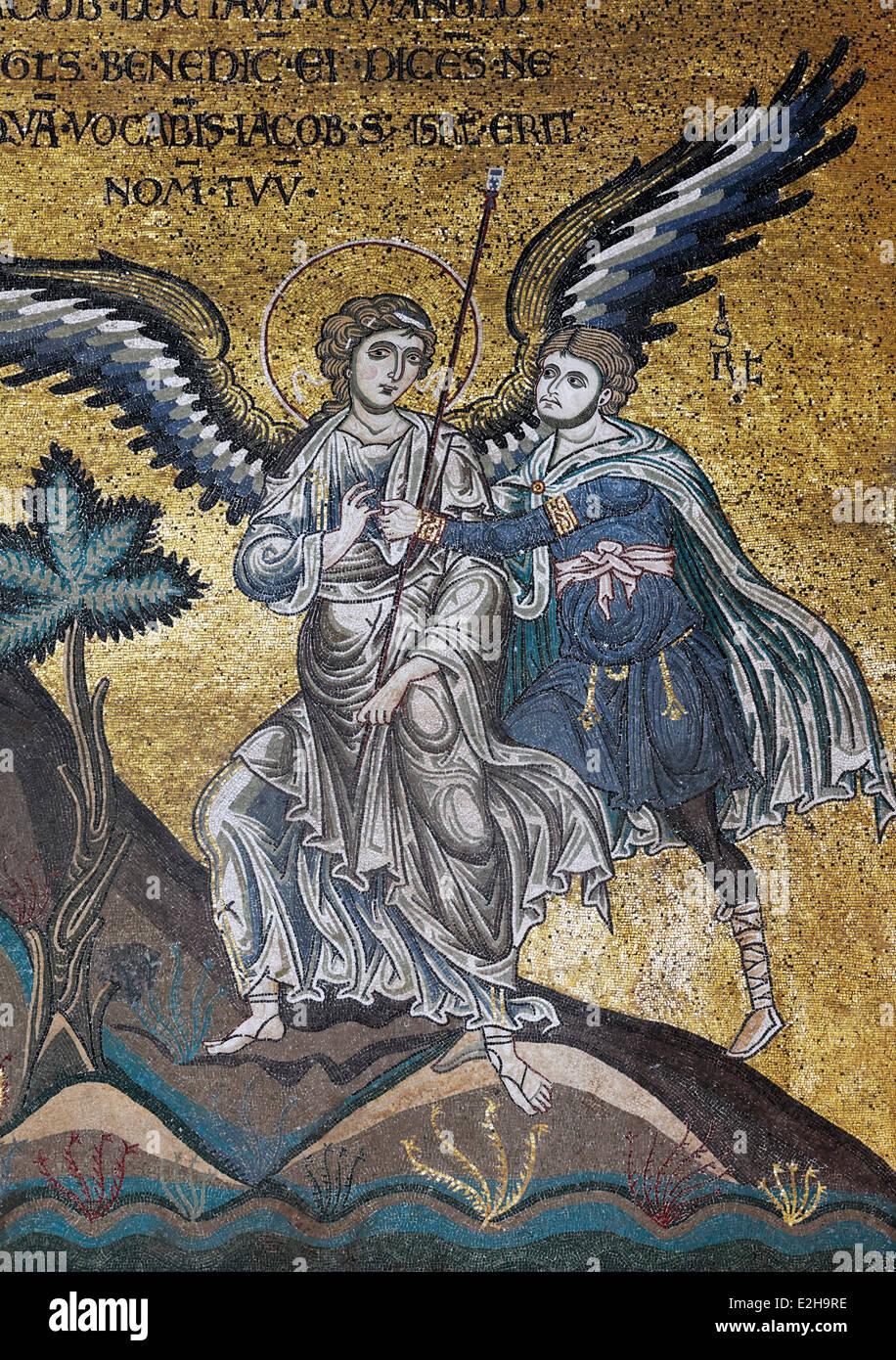 An angel stopping the sacrifice of Abraham, Byzantine gold ground mosaics, Cathedral of Santa Maria Nuova, Monreale - Stock Image