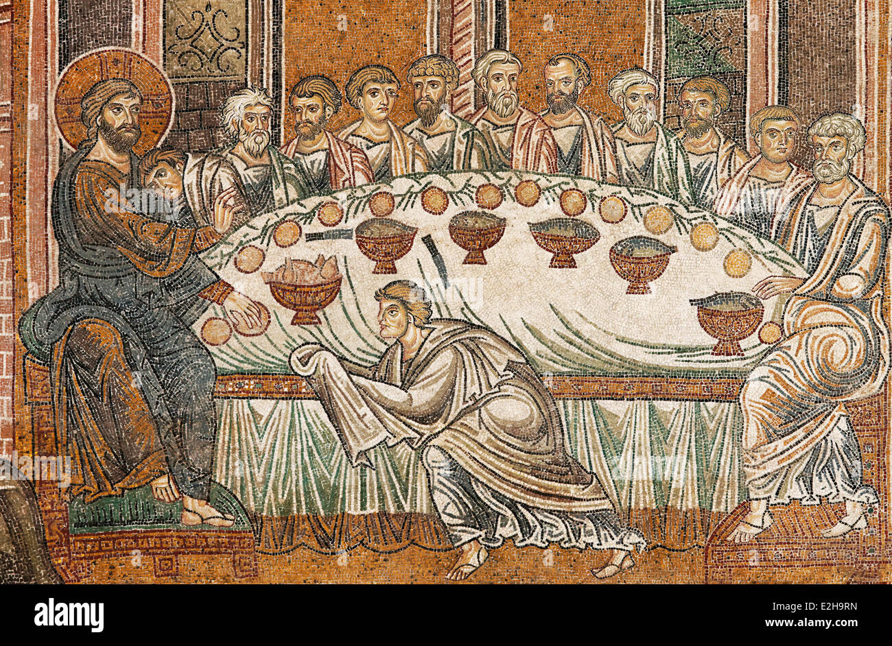 jesus and his disciples during the last supper byzantine gold