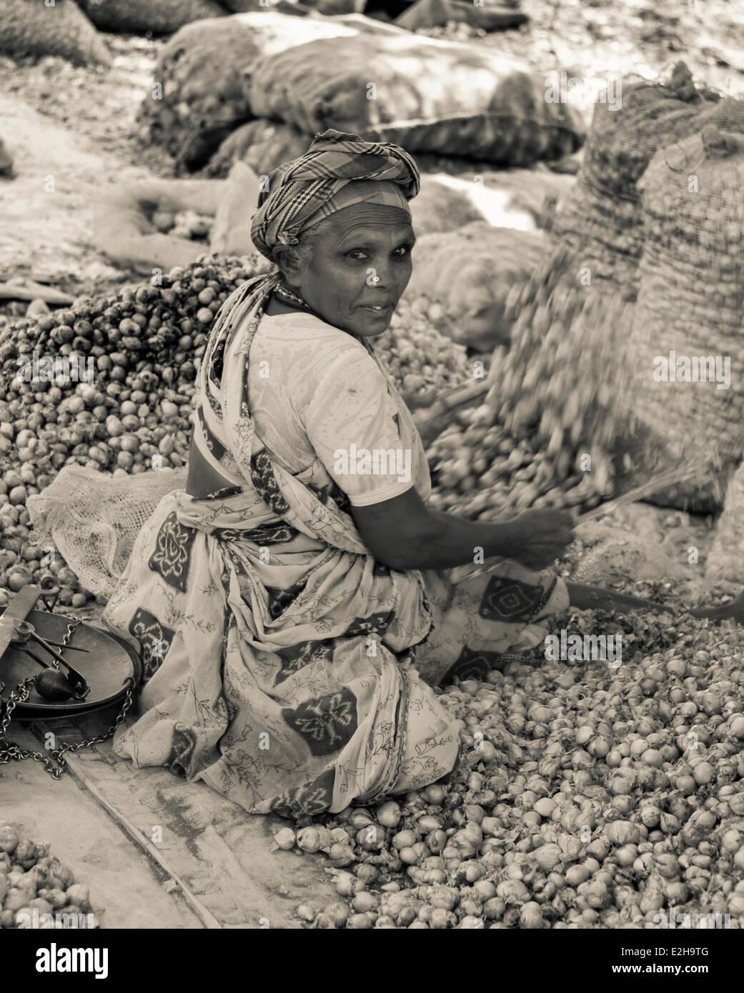 Indian woman sifting onions, Indian market, Chinnamanur, Tamil Nadu, India - Stock Image