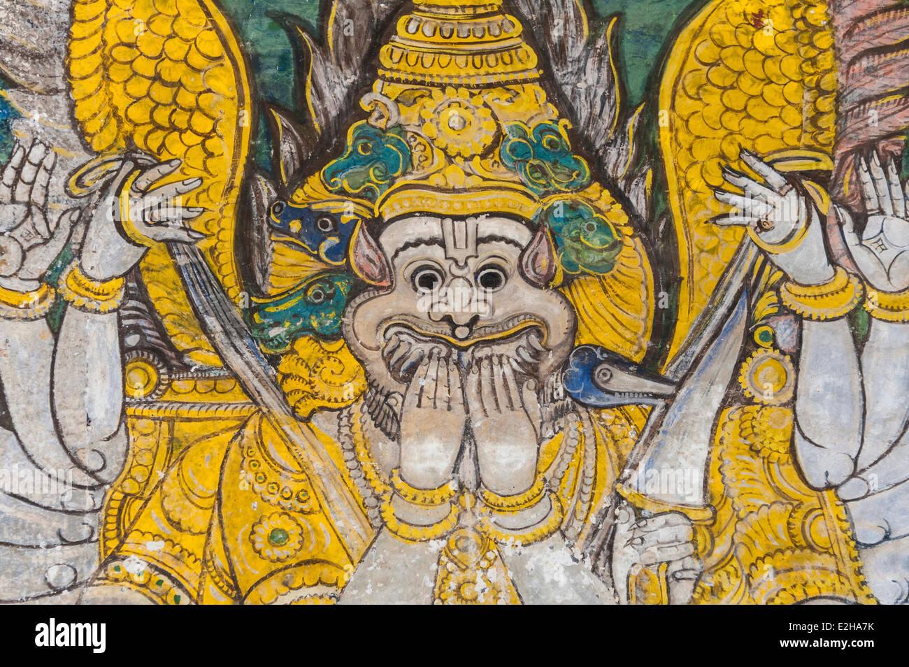Mural, Hindu deity, Srirangam temple complex, Tiruchirappalli, Tamil Nadu, India - Stock Image