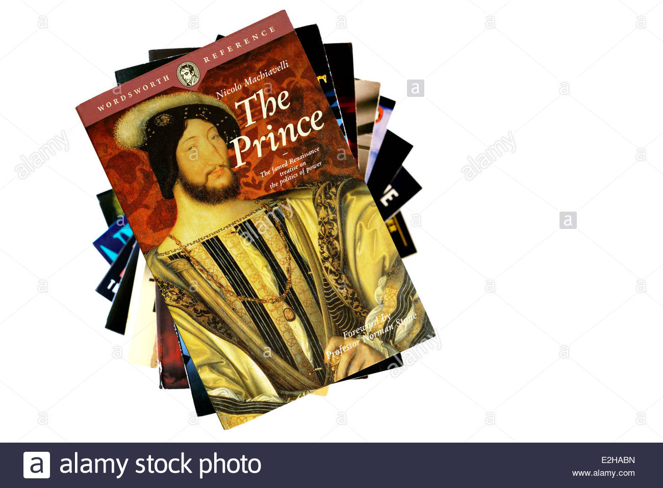 Nicolo Machiavelli treatise The Prince, stacked used books, England - Stock Image
