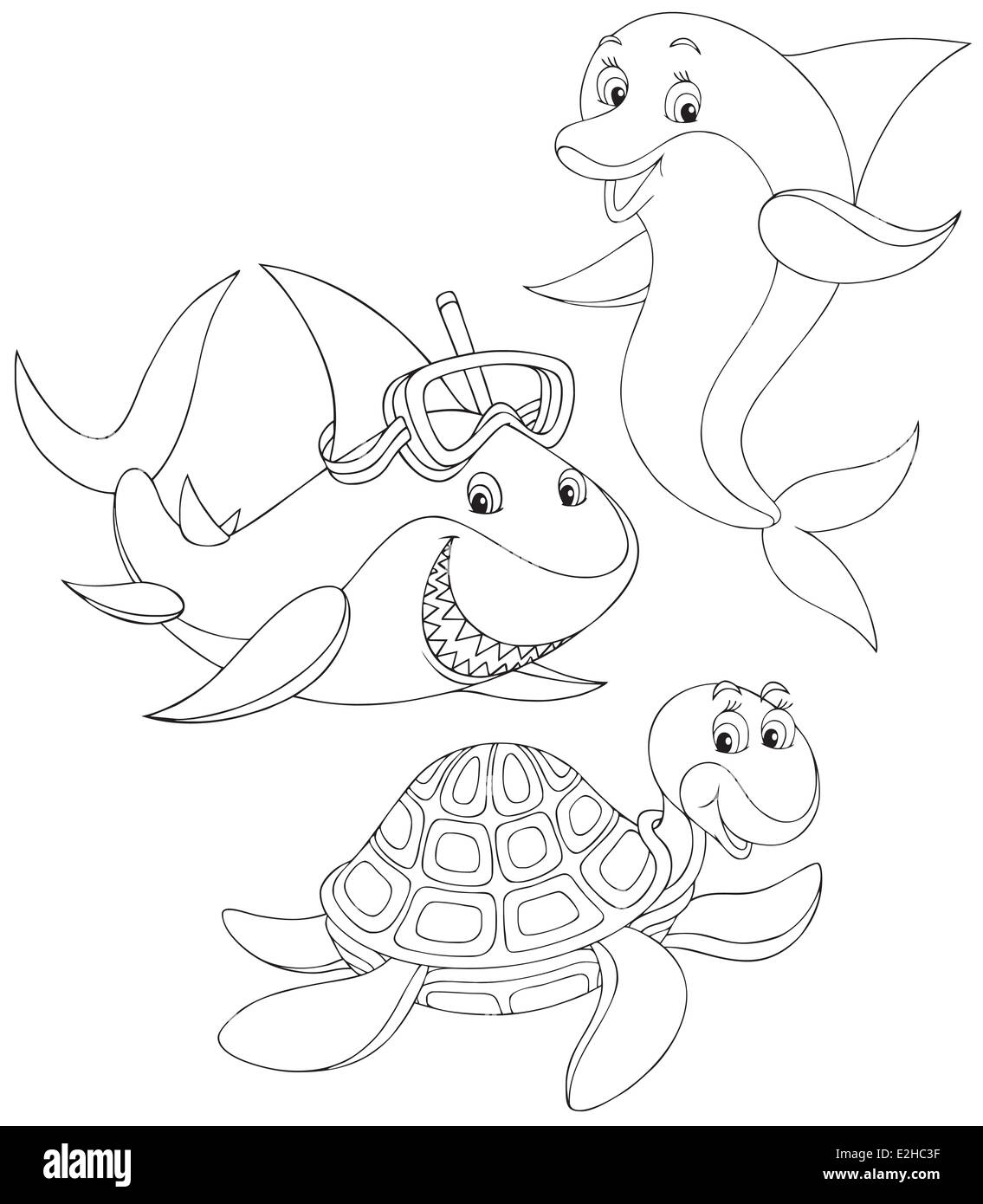 Great white shark, sea turtle and dolphin, black and white outline ...