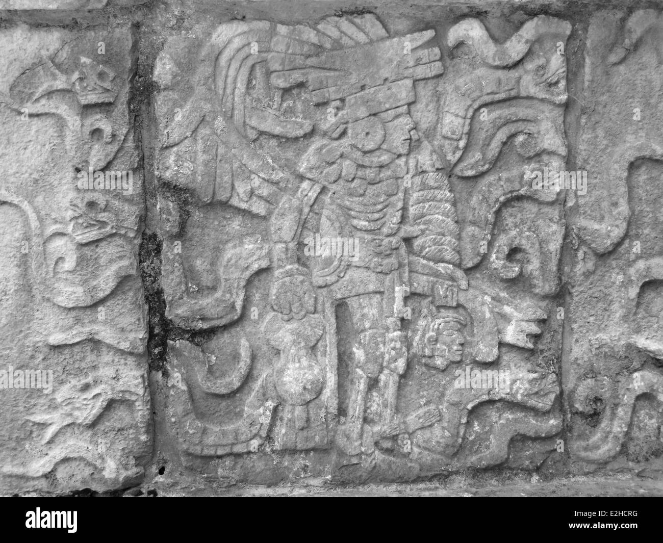 stone relief detail in Chichen Itza, a archaeological site in Yucatan, Mexico - Stock Image