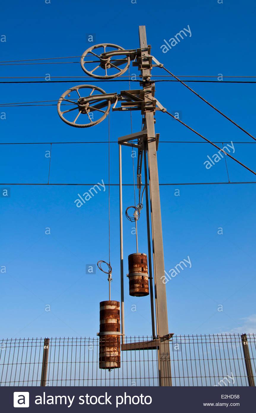 Sant Pol de Mar, detail electric cable of train, Cossta del Maresme, Barcelona, Spain - Stock Image