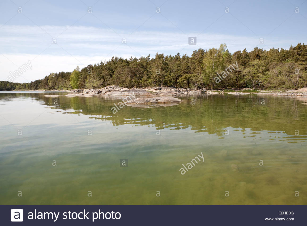 Calm sea in the spring - Stock Image