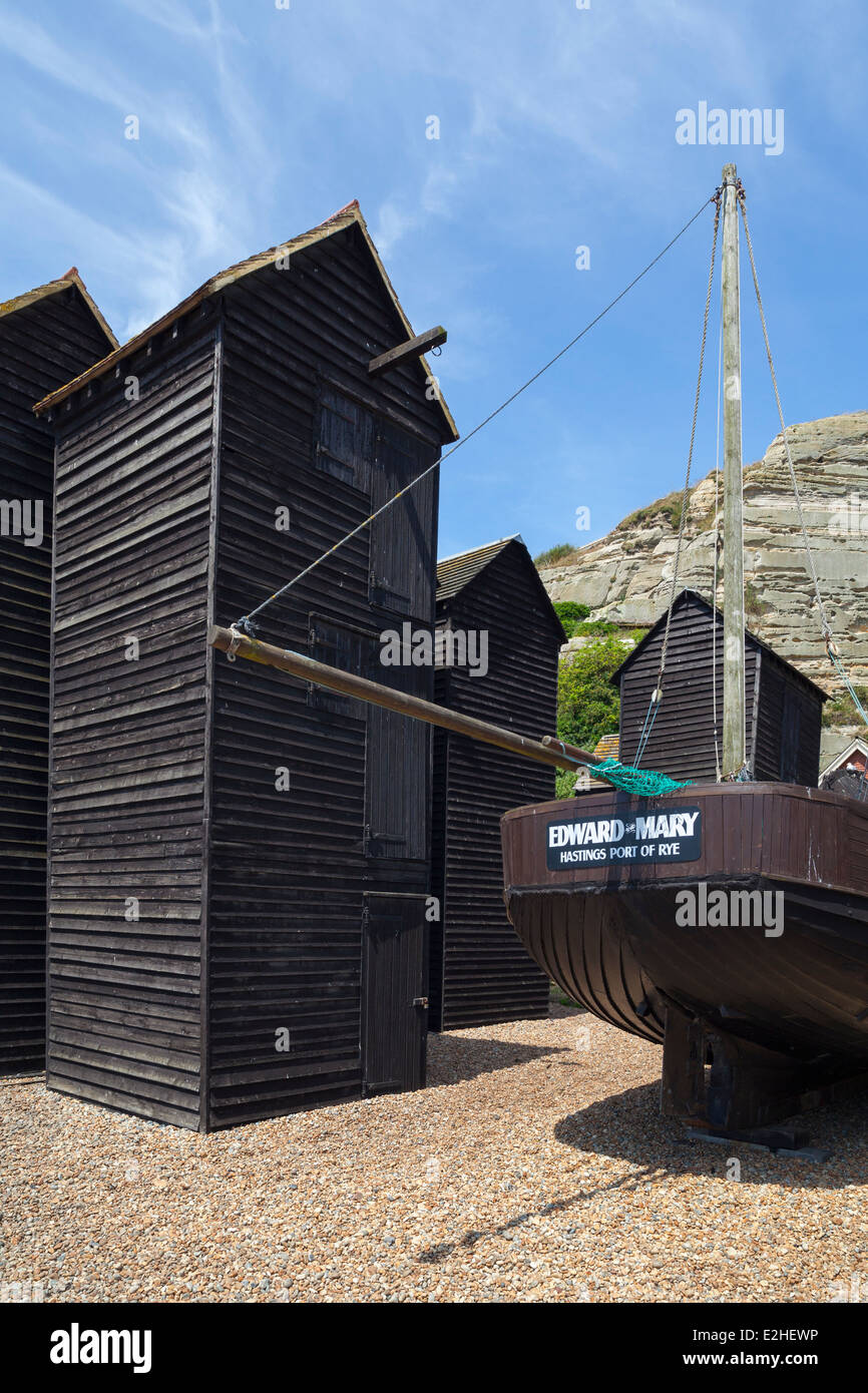 Hastings Old Town fishing quarter, East Sussex, England, UK - Stock Image