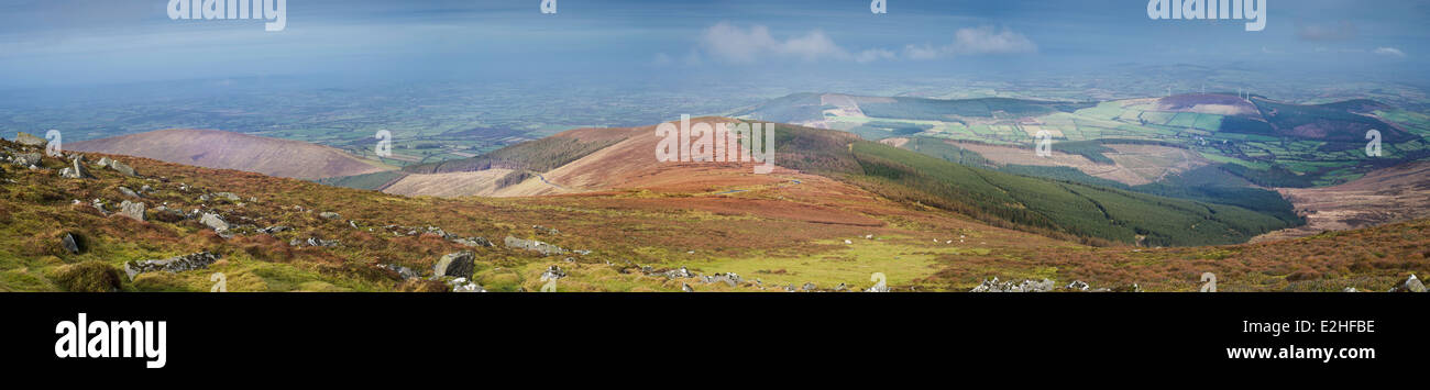 Panorama northwards and westwards from Mount Leinster, Blackstairs Mountains, County Carlow, Ireland - Stock Image