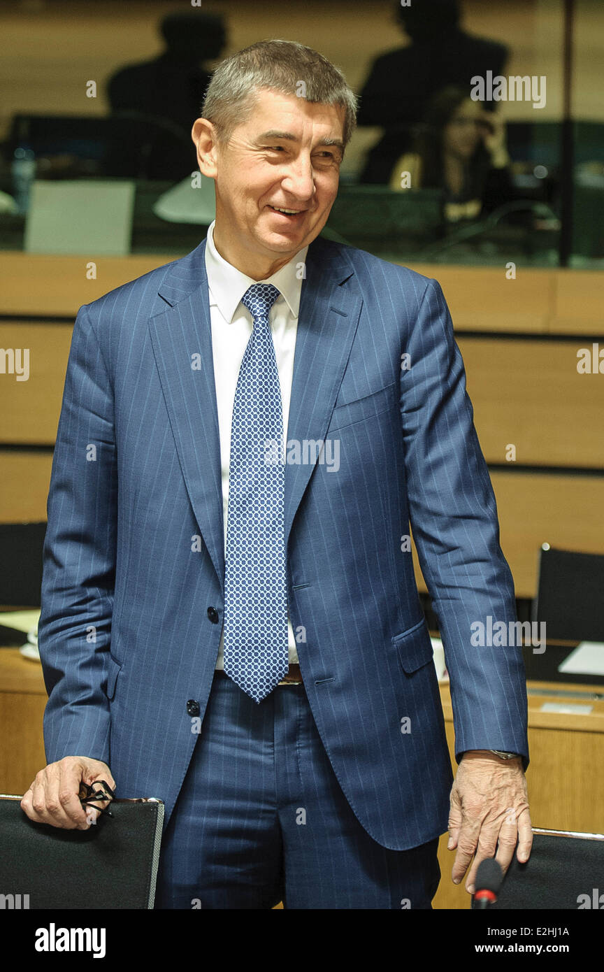 Luxembourg. 20th June, 2014. Czech Finance Minister Andrej Babis during ECOFIN finance ministers meeting at European - Stock Image
