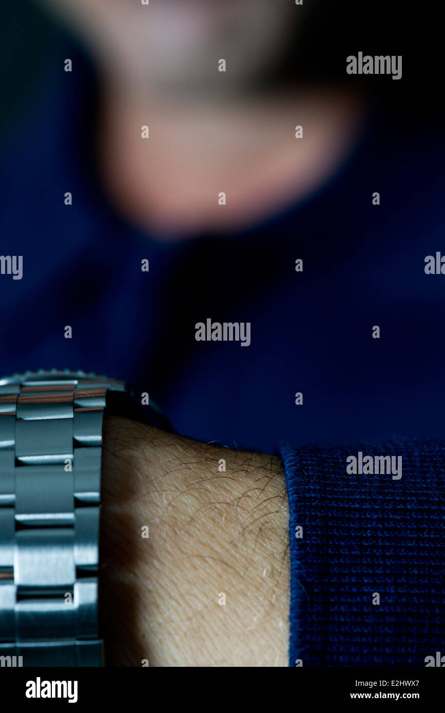 Close-up of man's watchband - Stock Image
