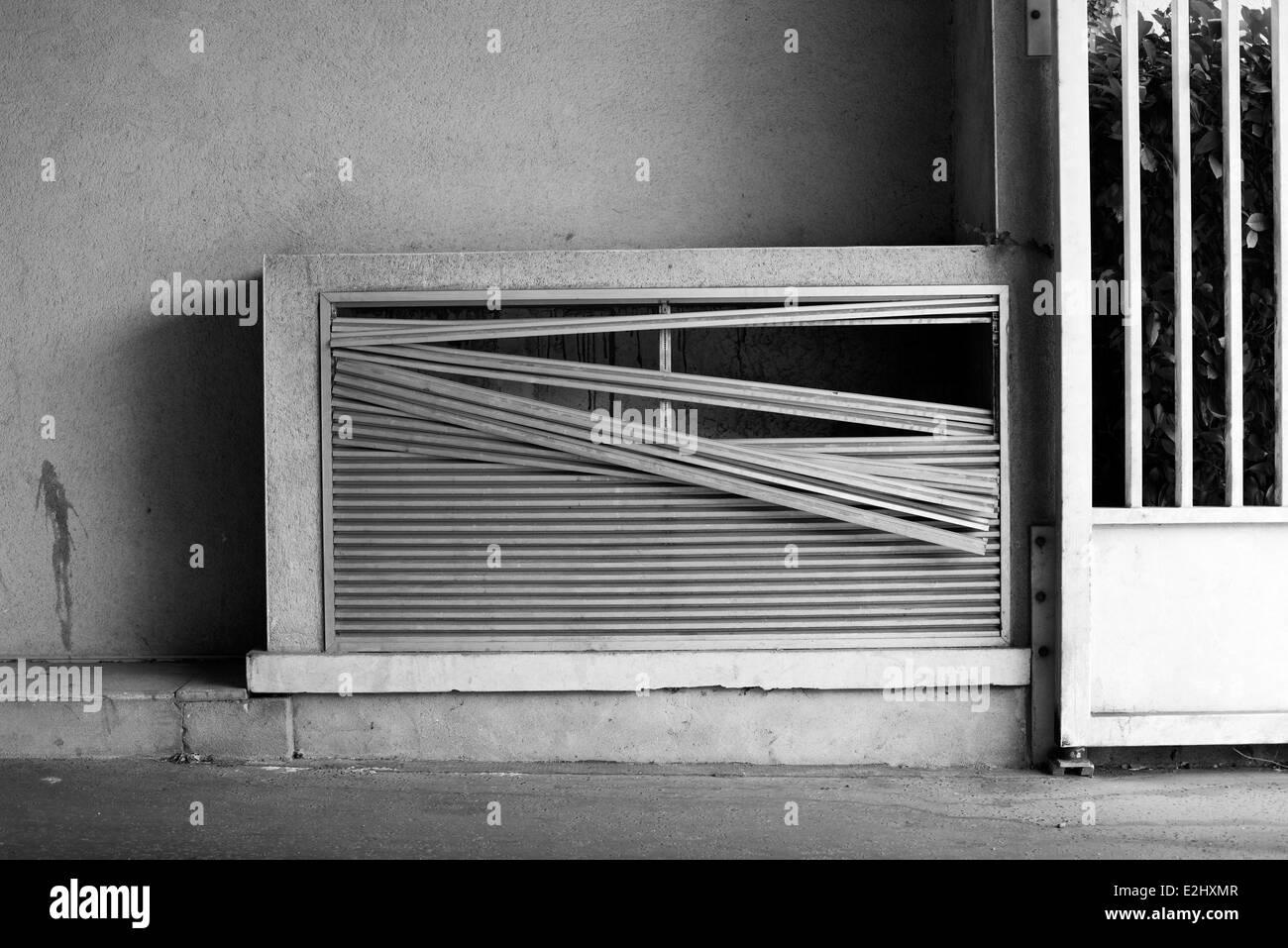 Broken shutter - Stock Image